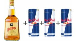 Whisky White Horse 1 L + 4 Red Bull Tradicional