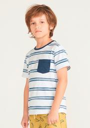 Camiseta Infantil Menino Listrada Com Bolso