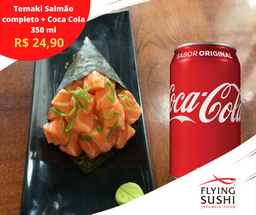 Temaki Salmão com Cream Cheese Completo + Coca-cola 350ml