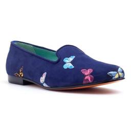 Loafer Borboletas Camurça Azul Marinho Tamanho 37