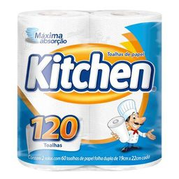 Kitchen Papel Toalha Folha Dupla 120 Folhas
