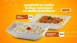 Spaghetti ao Molho Branco e Bacon ou Molho Bolonhesa