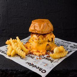 Combo burger cheddar melted