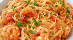 Spaghetti com Camarão - Serve 1 Pessoa