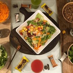Salada Ceasar e Suco de Abacaxi c Hortelã