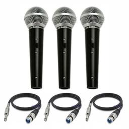 Kit 3 Microfones De Mão Xlr Leson Ls-50 + Cabos 5 M P10