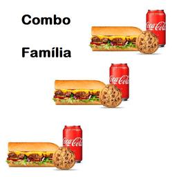 Combo Família 3 Subs com 3 bebidas e 3 cookies
