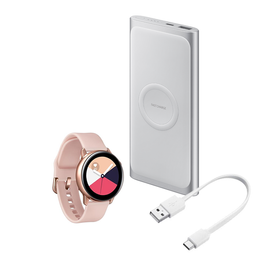Kit Galaxy Watch Active Rosa + Bateria Wireless Prata 10,000Mah