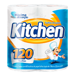 Papel Toalha Kitchen Folha Dupla 120 Folhas