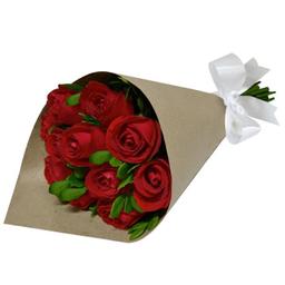 Buquê De Rosas Vermelhas Nacionais No Kraft Com 12 Und