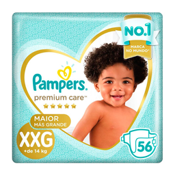 Pampers Fralda Premium Care Tam Xxg Pacote Hiper 56 Descartaveis