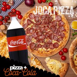 Pizza Meio a Meio e Refrigerante - Grande