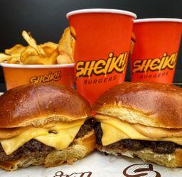 Combo - 2 Burgers Simples com  Batata e 2 Bebidas
