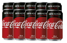 10 Und. Refrigerante Coca Cola Zero Lata 220 mL