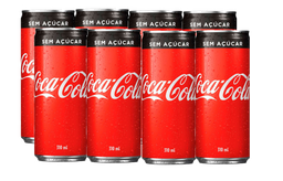 8 Und. Refrigerante Coca Cola Sem Açucar Lata 310 mL