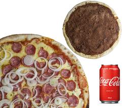 Pizza Grande Salgada + Brotinho Doce + Refri