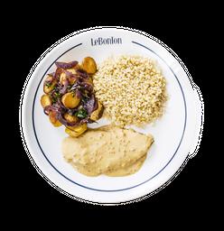 Frango a moutarde, arroz e batata p/2 pessoas