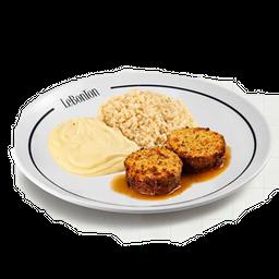 Le Bife, arroz cateto e purê doce p/2 pessoas