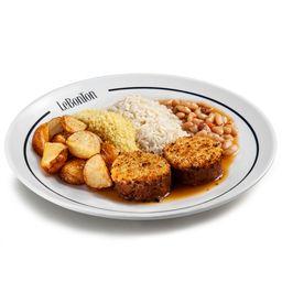 Le Bife, arroz, batata, farofa e cassoulet