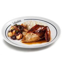 Le Frangô (peito), arroz branco e batata lionese