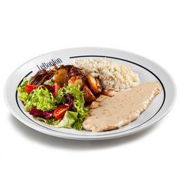 Frango a moutarde, arroz branco, batata lionese e salada verde