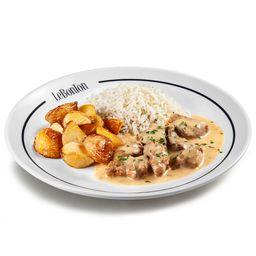 Boeuf Fromage, arroz branco e batata rústica