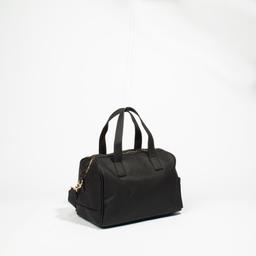 Bolsa de alças com texto em relevo preta