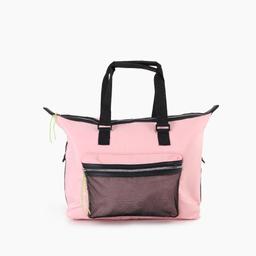 Bolsa de nylon com rede grande soft pink