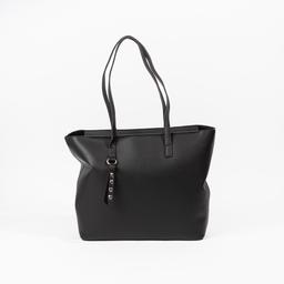 Bolsa shopper de couro com pingente de coração preta