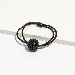 Elástico de cabelo com bola de strass preto