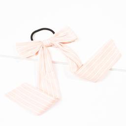 Elástico de cabelo de tecido estampado com laço rosa claro