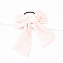 Elástico de cabelo com laço de broderie rosa