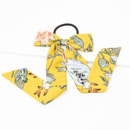 Elástico de cabelo de tecido com laço e estampa floral amarelo