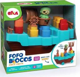 Brinquedo Para Montar Fofo Blocos Barco Pirata 14 Peças
