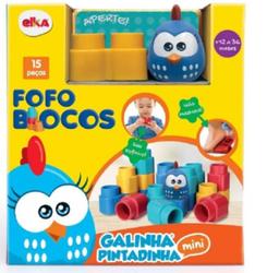 Brinquedo Para Montar Fofo Blocos Galinha Pintadin Mini 15 Peças