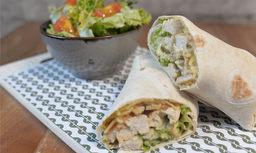Wrap Chiken Caesar, Salada e Suco de Laranja