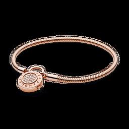 Bracelete Crie & Combine Rose Liso Fecho Pandora Cadeado Pandora