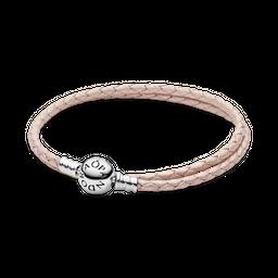 Bracelete Trançado Rosa Duas Voltas Pandora