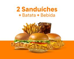 2 Sanduíches + Batata + Bebida por R$ 34,90!
