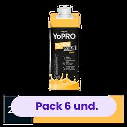 6 x Bebida Lactea Com 15G De Proteína Yopro Banana 250Ml