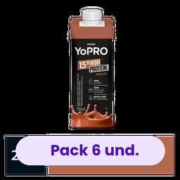 6 x Bebida Lactea Com 15G De Proteína Yopro Chocolate 250Ml