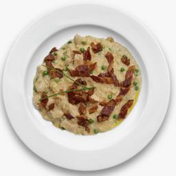 Risoto de frango com bacon defumado