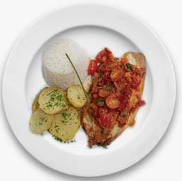 Tilápia com duetos de tomates e batatas