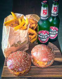 2 Burgers Dry + 2 Fritas + 2 Beck's