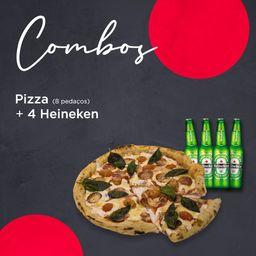Combo Pizza 8 pedaços + 4 Heineken