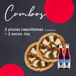 2 pizzas Napolitanas - 4 pedaços + 2 Sucos Joy