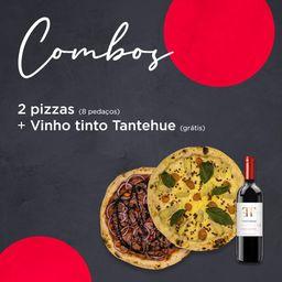 Combo 2 pizzas - 8 pedaçõs + grátis vinho tinto