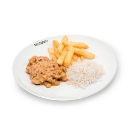 Strogonoff Vegetariano com Batata Frita