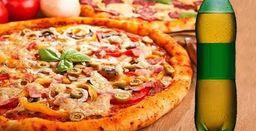 Pizza Tradicional com Borda e Refrigerante