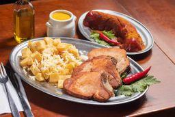 Currywurst, Kassler e Batatas Coradas.